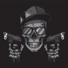 Original monochrome vector illustration of a skull bandit wearing glasses and a cap, with two guns in his hands. T-shirt or sticker design.