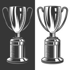 Original monochrome vector illustration of football Cup in retro style. Design element