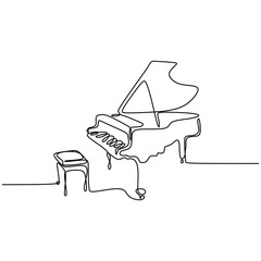 one line drawing piano music instrument vector illustration minimalist design