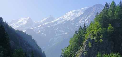Landscape view of the Massif du Mont Blanc near Chamonix, France