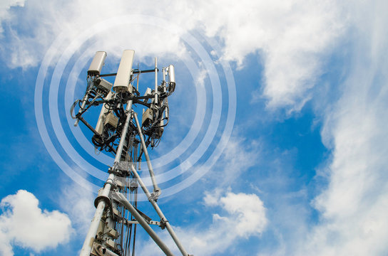 Communication telecom tower,base of 5G Network,on blue sky background