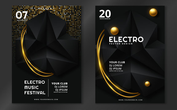 Electronic music fest and electro summer wave poster. Club party flyer. Vector illustration