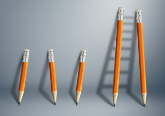 Successful effort and challenge in business concept, pencil stairs with copy space.