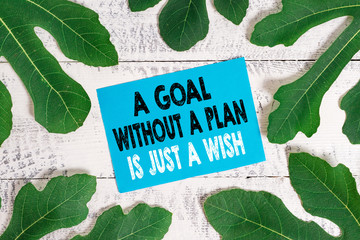 Word writing text A Goal Without A Plan Is Just A Wish. Business photo showcasing Make strategies to reach objectives