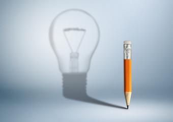 Creative idea concept, pencil with bulb shadow