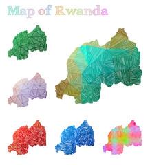 Hand-drawn map of Rwanda. Colorful country shape. Sketchy Rwanda maps collection. Vector illustration.