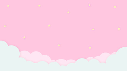 Abstract kawaii Cloudy Colorful Sky background. Soft gradient pastel Comic graphic. Concept for children and kindergartens or presentation