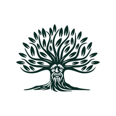 Green Man Tree Illustration Vector