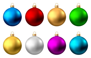 Fotomurales - Realistic  red, gold, silver, blue, green,  purple  Christmas  balls.
