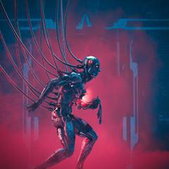 System failure imminent / 3D illustration of damaged futuristic metallic science fiction male humanoid cyborg seeking help