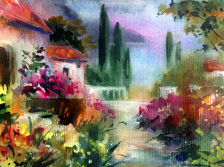 Zelfklevend Fotobehang Olijf Watercolor colorful bright textured abstract background handmade . Mediterranean landscape . Painting of architecture and vegetation of the sea coast , made in the technique of watercolors from nature