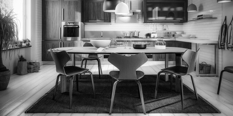 Modern Kitchen Area with Dining Room Integration (panoramic B&W) - 3d visualization