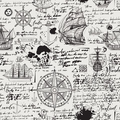 Foto op Plexiglas Schip Vector abstract seamless background on the theme of travel, adventure and discovery. Old manuscript with caravels, wind rose, anchors and other nautical symbols with blots and stains in vintage style