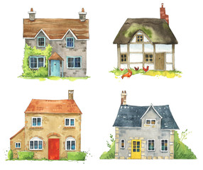 set of watercolor British cottages, English traditional architecture
