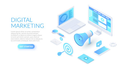 Digital marketing design concept with computer, hand speaker and smartphone. Isometric vector illustration. Landing page template for web.