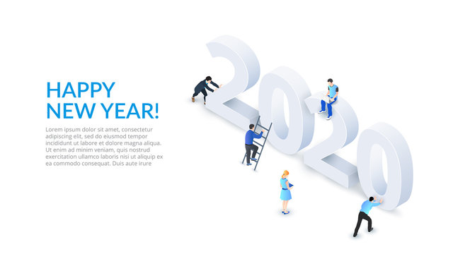 The Happy New Year 2020 isometric number design concept. Landing page with people.