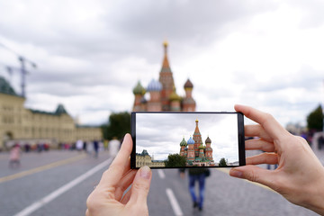 Moscow's most famous buildings smartphone view. St. Basil's Cathedral on the Red Square.