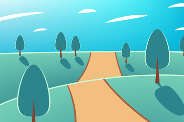 Foto auf Acrylglas Reef grun Nature at noon. Beautiful landscape with trees and road. Outdoor vector illustration design. Beautiful landscape.