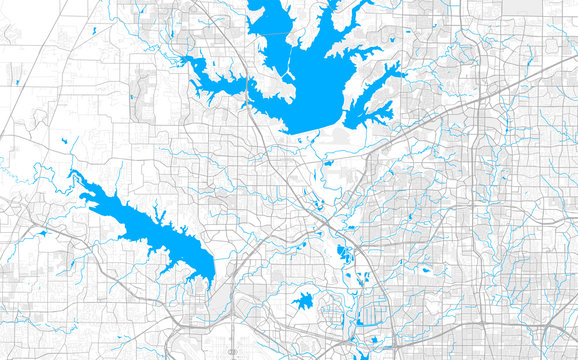 Rich detailed vector map of Lewisville, Texas, USA