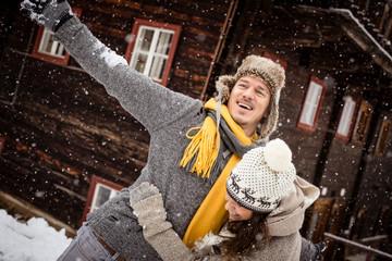 Fototapete - Liebe und Schnee
