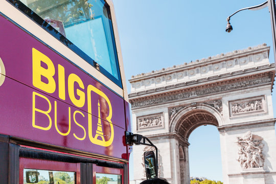 29 July 2019, Paris, France: Big Bus sightseeing tour near Arch de Triumph