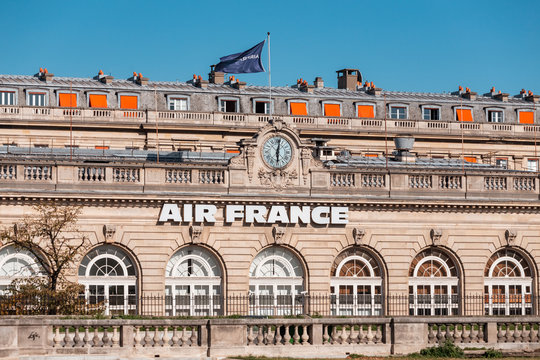 29 July 2019, Paris, France: Air France Headquarters and Main Office Building with Flag
