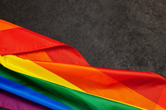 LGBT Pride Rainbow Flag. Black background