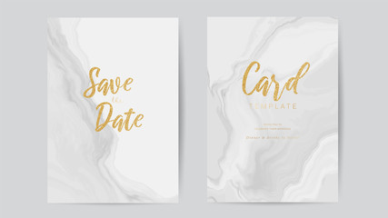 Fotobehang - Save The Date Card, Invitation Card design with Gold and Luxury White background template