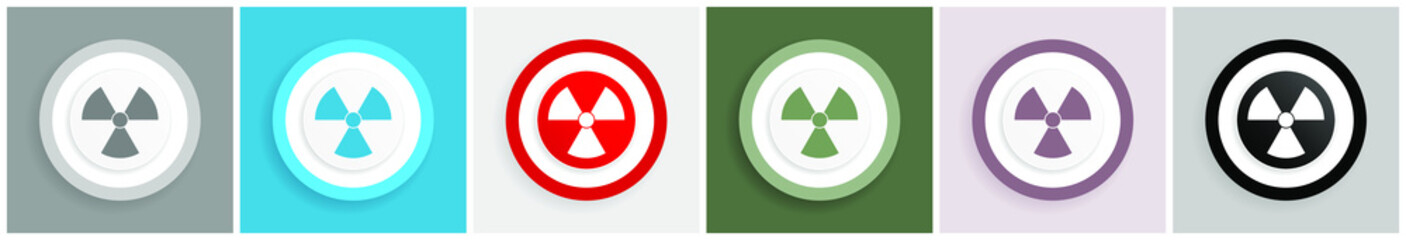 Radiation icon set, colorful flat design vector illustrations in 6 options for web design and mobile applications