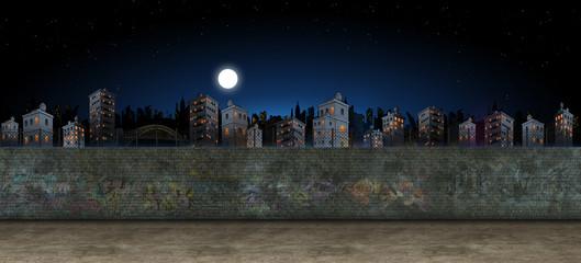Brickwall with City skyline