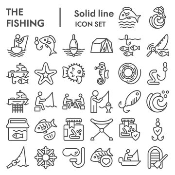 Fishing line icon set, fisherman equipment symbols collection, vector sketches, logo illustrations, fishing hobby signs linear pictograms package isolated on white background, eps 10.
