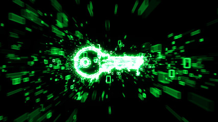 Digital key in cloud of green binary numbers illustrating digital encryption