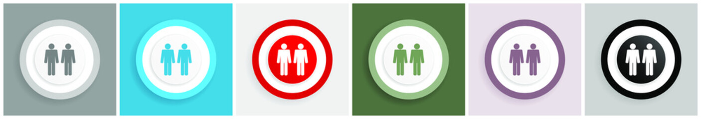 Couple icon set, colorful flat design vector illustrations in 6 options for web design and mobile applications