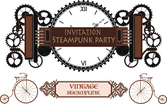 Steampunk frame background, vintage mechanical clock with cogs, gears menu invitation