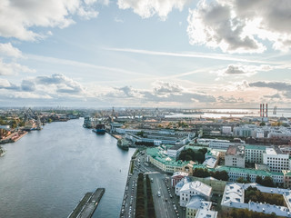 Aerial photography of the Neva river, the historic center of the city, Blagoveshchensk bridge, St. Petersburg, Russia.