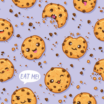 Cookies kawaii characters seamless pattern. Vector illustration