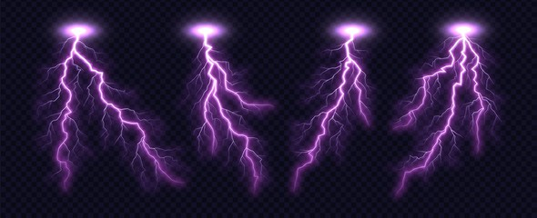 Lightning bolt collection isolated on transparent background. Realistic thunderbolt set. Lighting effect vector illustration.