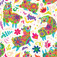 Mexican Day of the dead or Halloween seamless pattern with alpacas and colorful decorative flowers