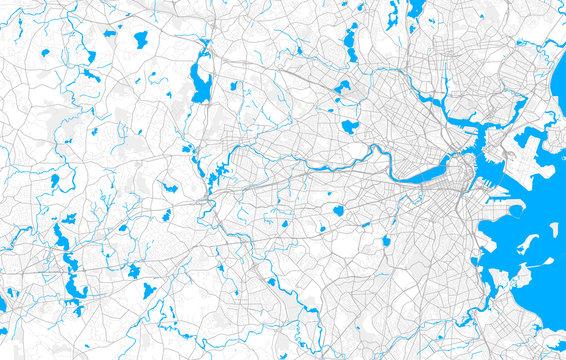 Rich detailed vector map of Newton, Massachusetts, USA