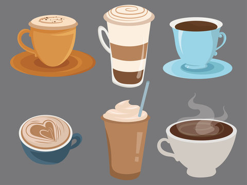 Set of coffee drinks in cups. Collection of cartoon cups of coffee. Vector illustration of hot drinks for coffee house.