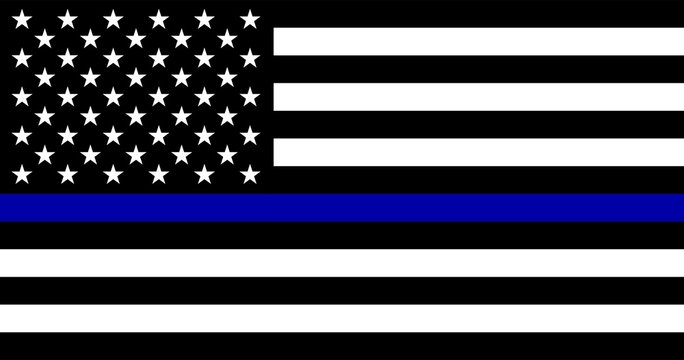 American flag with police support symbol, Thin Blue Line. Vector EPS 10