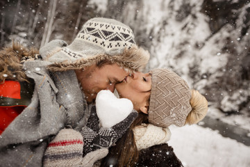 Poster - Herz aus Schnee Liebespaar