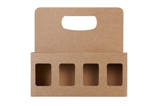 Isolated cardboard package of mini bottle of alcoholic beverage
