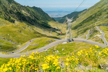 Canvas Prints Yellow Top summer view on a famous Transfagarasan Road in Romanian Carpathian Moutains