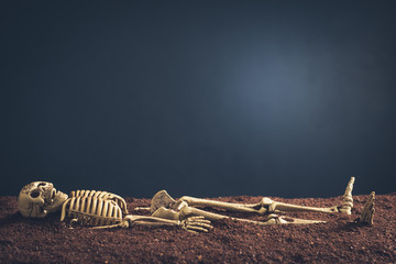 Skeleton lay on the soil with space for text of dark background