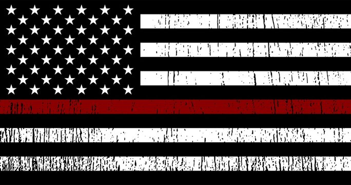 American Flag with red line - honoring Firefighters. Vector EPS 10