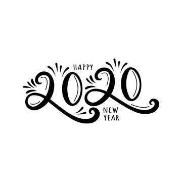 2020 hand drawn  text design emblem. Happy New Year.Isolated on white background