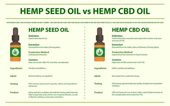 Hemp Seed Oil vs Hemp CBD Oil horizontal infographic illustration about cannabis as herbal alternative medicine and chemical therapy, healthcare and medical science vector.