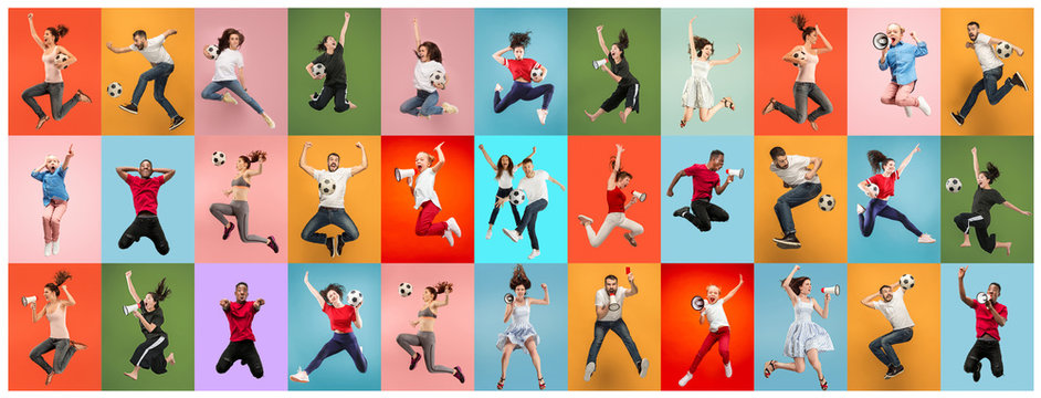 Beautiful male and female portrait on multicolored backgroud. Smiling, surprised, screaming. Human emotions, facial expression, sport fans. Creative collage made of different photos of 10 models.