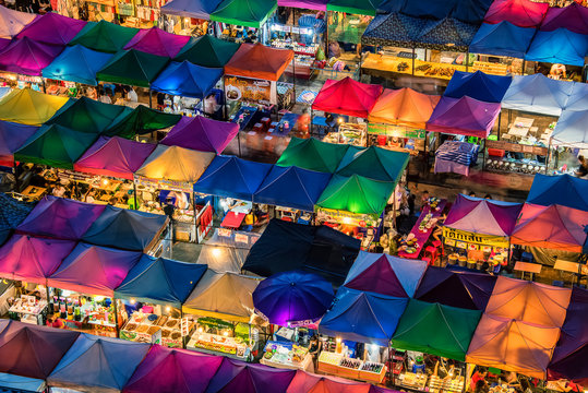 Train night market in Ratchadapisek Bangkok